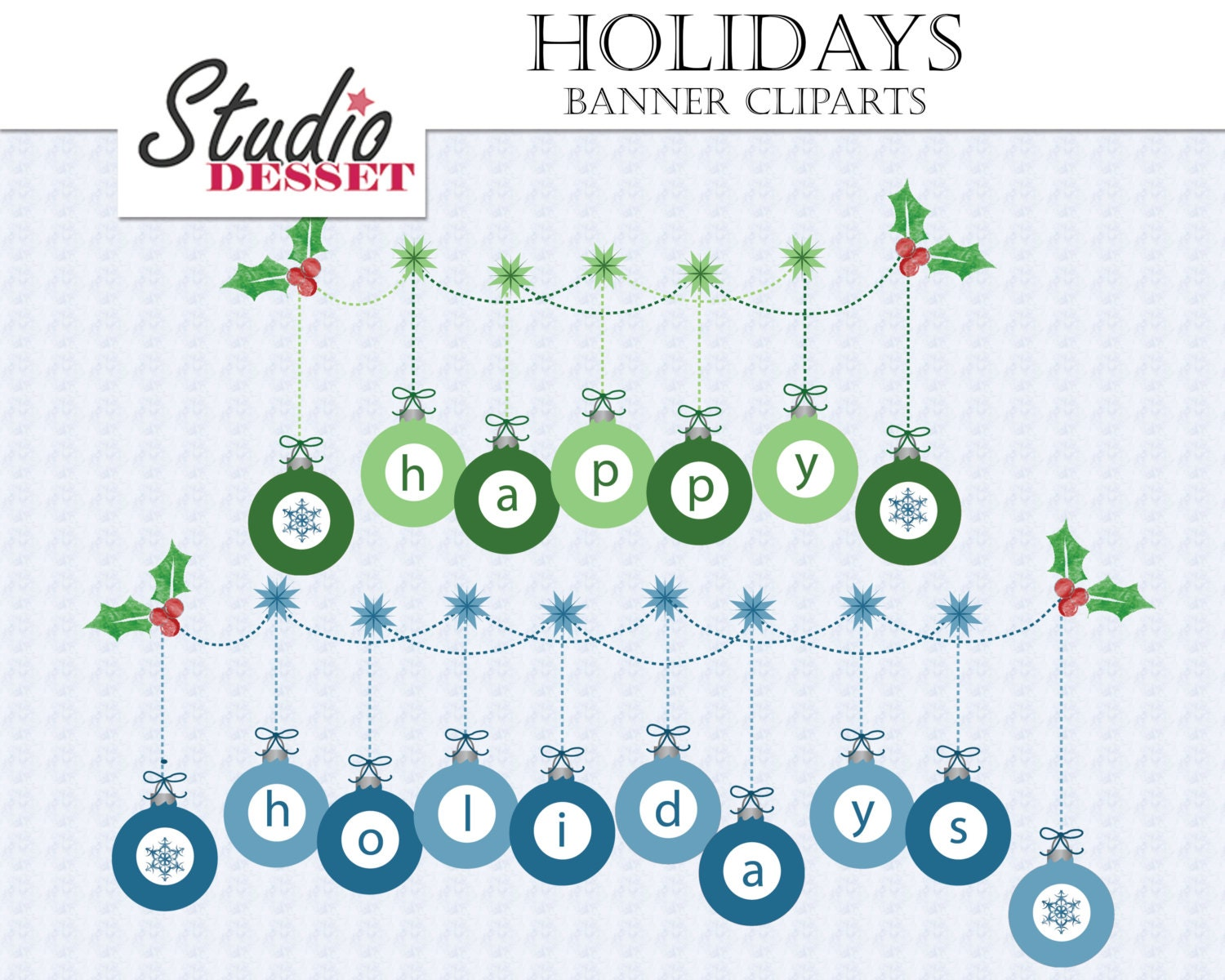 Happy Holidays Banner Clipart, Christmas Graphics Pack ...