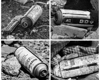 Black and White Spray Paint Cans Old Factory Set of Four 4 Square Photographs Art Photo Print Home Wall Decor by Rose Clearfield on Etsy