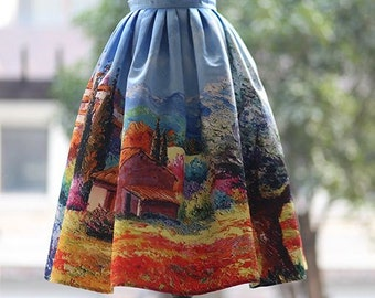 Fine Art collection vintage style dress like Audrey Hepburn one Fine day in countryside gorgeous puffy skirt