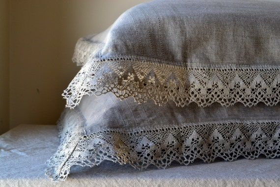 """Natural softened linen pillow case """"Provincial Living"""" with linen lace. Pure linen bedding"""