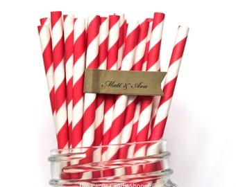 100 Red Paper Straws Paper Straws Made in the USA, Wedding, Baby Shower, Birthday, Rustic, Retro Valentines Day, Cake Pop Sticks, Pop Straws