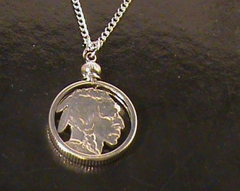 Hand cut Indian head nickel mounted in a bezel with 24 inch 2mm chain