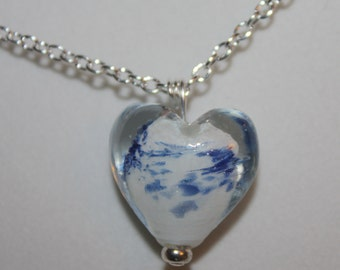 Heart Necklace, Heart Pendant, Lampwork Heart Necklace, Silver Plate Chain with a Lobster Claw Clasp