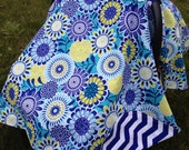 Blue/White/Lime Chevron Carseat Cover/Canopy