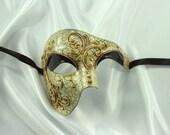 Classic Black & Gold Phantom of the Opera Paper Mache Masquerade Mask for Men