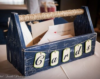 Customizable vintage style card box to decorate the gift table and add beauty and flair to your wedding!