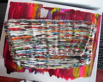 One of a kind Oversized, uber-chic woven clutch