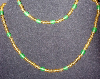 Gold and Green Beaded Necklace and Anklet - Matching Set