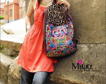 Miya's Original Ethnic Hmong Embroidered Bag Backpack Shoulderbag - Cranberries