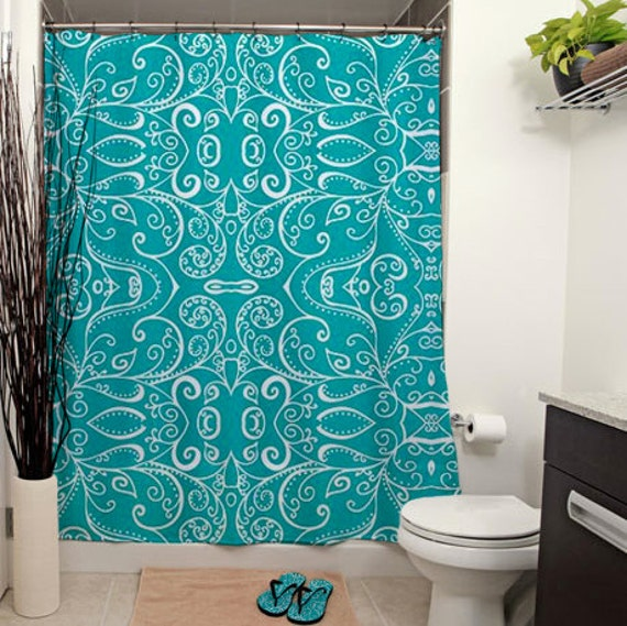 Silent Era Turquoise Printed Shower By JanetAnteparaDesigns