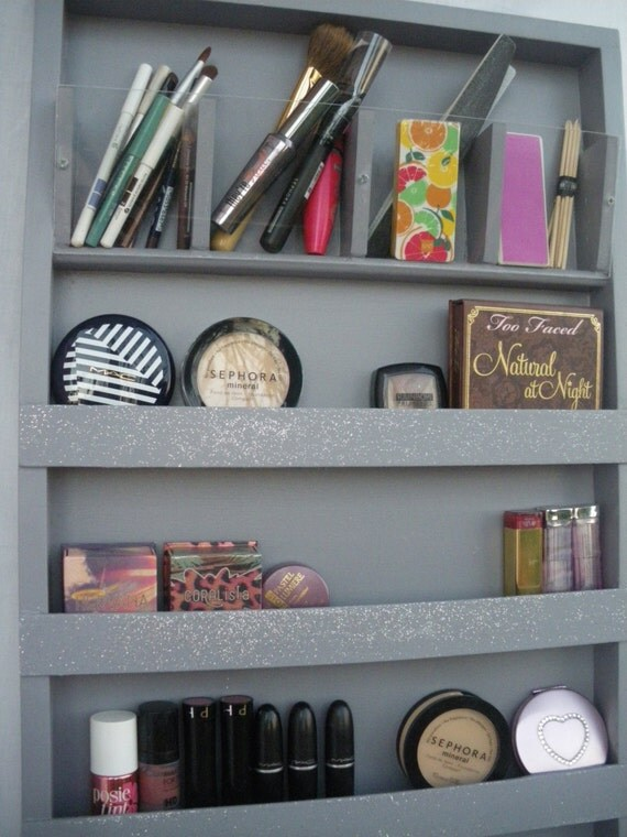 Gris argent maquillage organisateur rangement vernis - Rangement maquillage acrylique ...