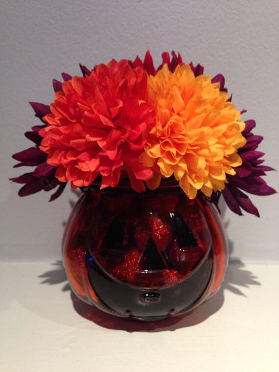 Halloween centerpiece pumpkin floral arrangement fall