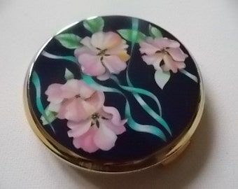Stratton Pink Flowers Vintage Compact