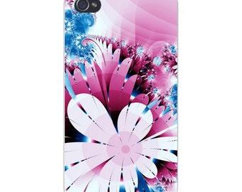 Apple iPhone Custom Case White Plastic Snap on - Abstract Flower Art Pink & White 6055