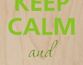 Keep Calm and Love Tea Teapot & Heart - Plywood Wood Print Poster Wall Art WP - DF - 0321
