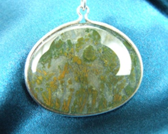 Green Moss Agate Stone Sterling Silver Necklace or Pendant 3