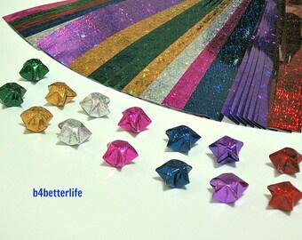 168 Strips of DIY Origami Lucky Star Paper Kit For Medium Size Stars. 24.5cm x 1.2cm. (4D Glittering paper series).