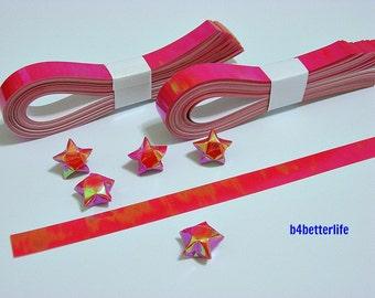 200 strips of Red Color DIY Origami Lucky Stars Medium Size Paper Folding Kit. 24.5cm x 1.2cm. (AV Paper Series). #SPK-170.
