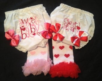 Valentine  Sweet Heart and Sweet baby monogramed bloomer with leg warmer