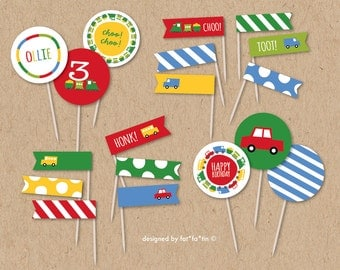 Boys Toys Happy Birthday Transport Cupcake Toppers Straw Flags Car Bus Truck Train Fun Colorful Cute Party Decoration Decor Printable PDF
