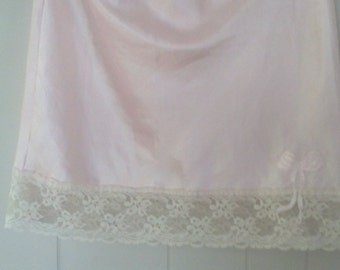 Vintage Christian Dior Pink Lace Slip with Signature Bow