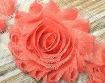 """1/2yd Salmon shabby flower trim - 2.5"""" inch - frayed chiffon - rose flowers by the yard"""
