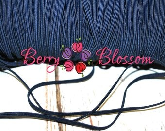 """Navy Blue skinny elastic 1 or 5 yards - 1/8"""" inch - elastic by the yard - Thick Skinny 1/8"""" - JT #10"""