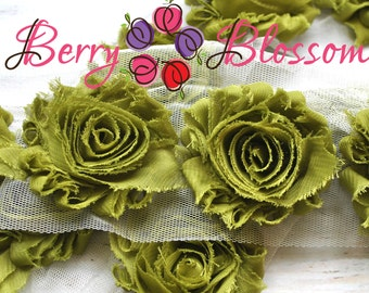 "2.5"" Olive Green shabby flower trim - frayed chiffon - rose flowers by the yard - JT olive green"