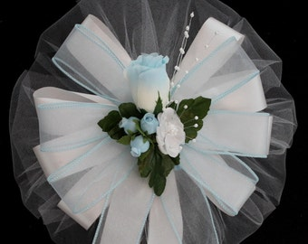 Light Blue Tipped Rosebud Wedding Pew Bow - Church Pew Decorations, Wedding Aisle Decorations, Wedding Ceremony Bow, Wedding Chair Bows