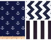 Nautical Box Pleat Crib Skirt for baby girl or baby boy nursery in anchors, boats, whales, ships, sailors, navy, yellow, gray, pink, green