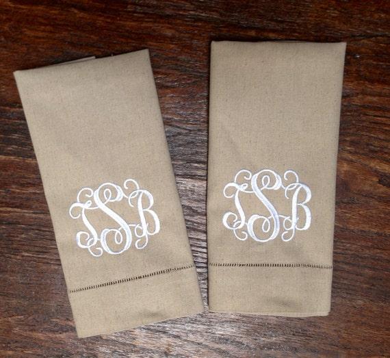 2-Vintage Tea Towels Monogrammed Set