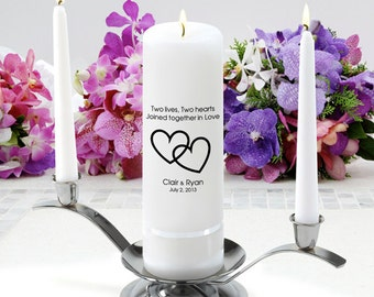 Personalized Wedding Unity Candle Set - Two Lives 2 Hearts - GC330 CP7