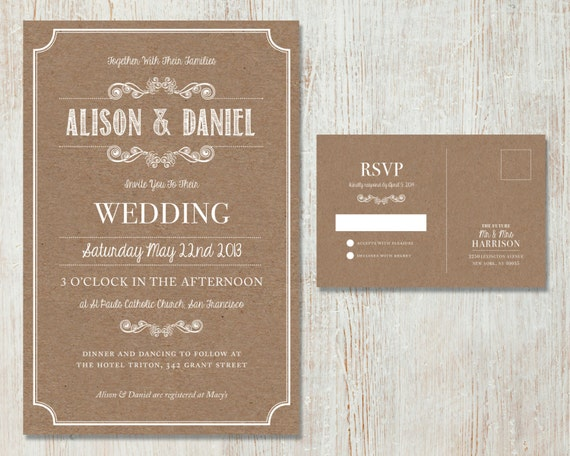 Rustic Wedding Invitation Sets: Rustic Wedding Invitation Set Vintage Kraft Design Country