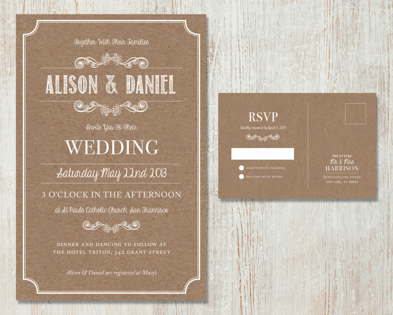 Country Rustic Wedding Invitations: Rustic Wedding Invitation Set Vintage Kraft Design Country
