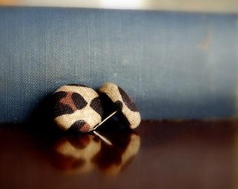 fabric button earrings leopard & zebra love