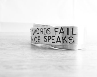 Silence Speaks Custom TWO Finger Ring - Inspirational Quote Ring, Personalized Ring, Custom Quote Jewelry