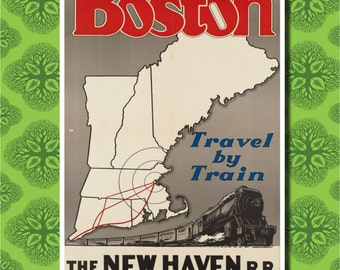 Boston Travel Poster Wall Decor (7 print sizes available)