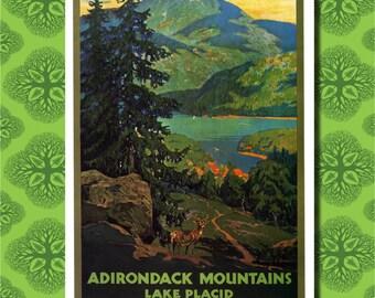Adirondack Mountains Lake Placid Travel Poster Wall Decor (7 print sizes available)