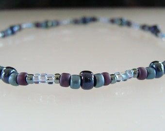 Stretchy Anklet, Grey, Blue, Beaded