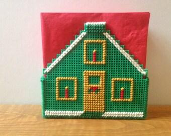 Christmas House Plastic Canvas Napkin Holder