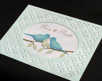 Personalized Anniversary card / hand made anniversary card with blue bird embellishment