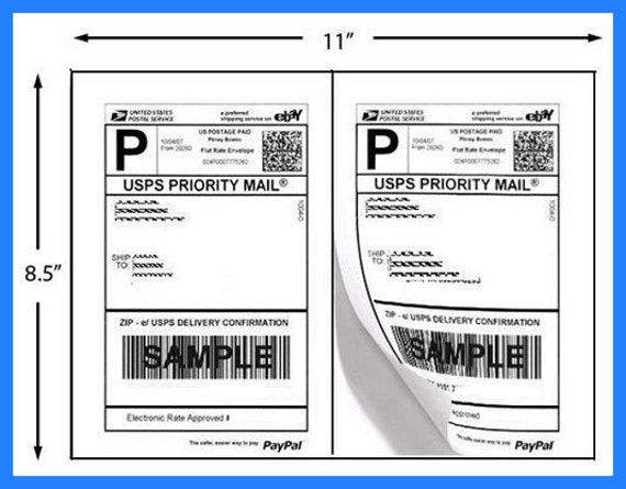 200 half page shipping labels use for etsy shipping