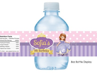 Sofia The First Water Bottle Labels DIY Printable