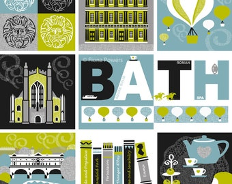 Bath City giclée print in pale blue and lime green
