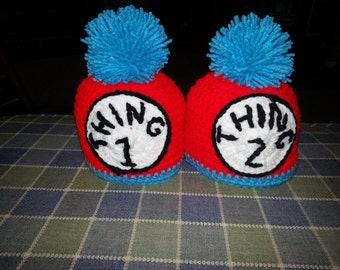 Dr. Seuss Thing 1 and Thing 2 Beanies-Sizes Newborn-Extra Large Adult