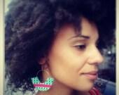 Ethnic African Fulani  inspired Fabric Earrings