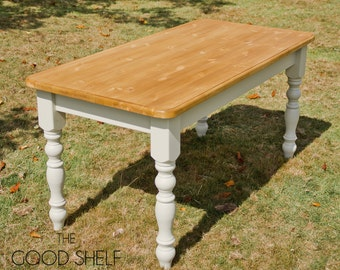 Farmhouse Table - Available in one solid colour, or with painted legs and waxed top.
