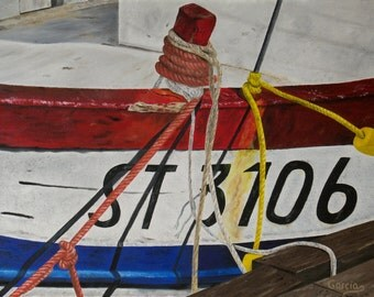 """Boat Oil Painting, Ropes, Original Oil Painting - """"Docked"""" (18"""" x 24"""")"""
