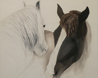 "Horse Oil Painting, Horses, Pair, Original Oil Painting - ""Sweet Nothings"" (24"" x 24"")"
