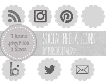 Grey Social Media Icons, Blog Buttons, Social Media Buttons, Cute Social Media Buttons, Gray Blog Buttons, Website Icons